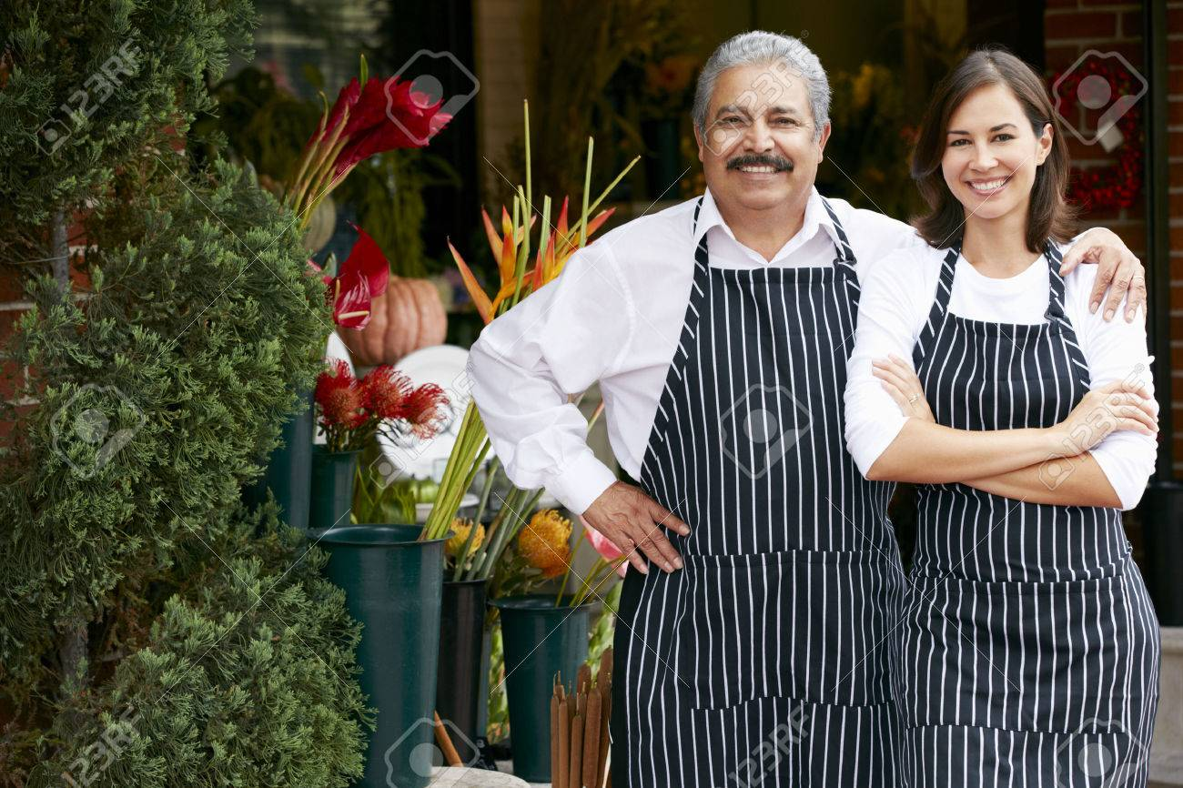 Portrait Of Male And Female Florist Outside Shop Stock Photo - 42257310