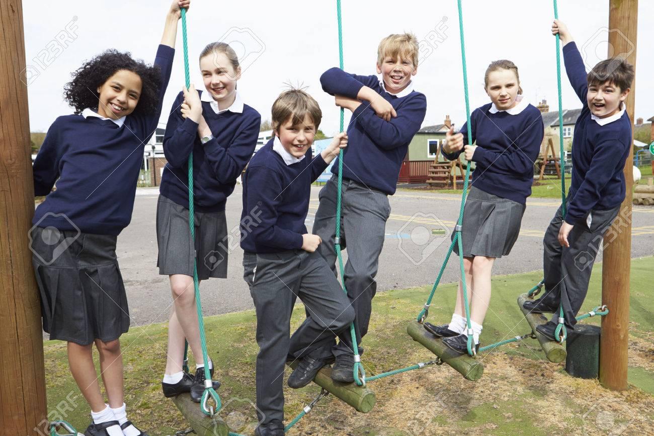 Portrait Of Elementary School Pupils On Climbing Equipment Stock Photo - 42401679