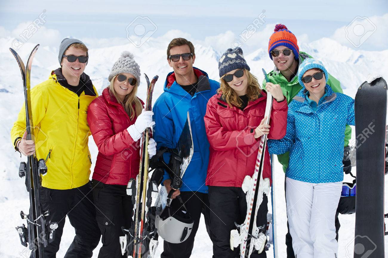 Group Of Friends Having Fun On Ski Holiday In Mountains Stock Photo - 42401792