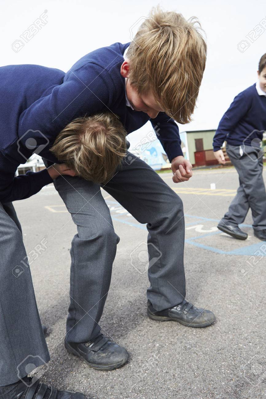 Two Boys Fighting In School Playground Stock Photo - 42401842