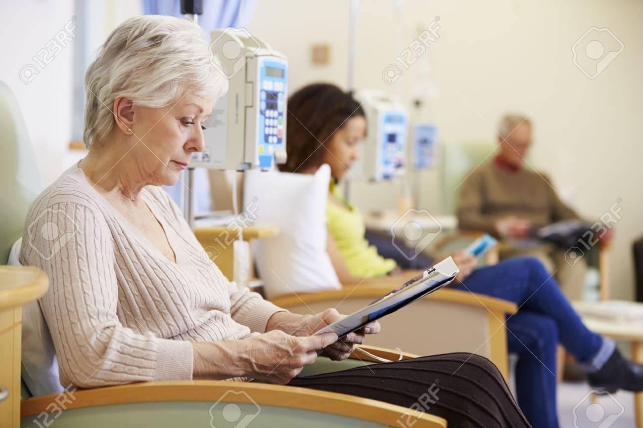 Senior Woman Undergoing Chemotherapy In Hospital Stock Photo - 42402893