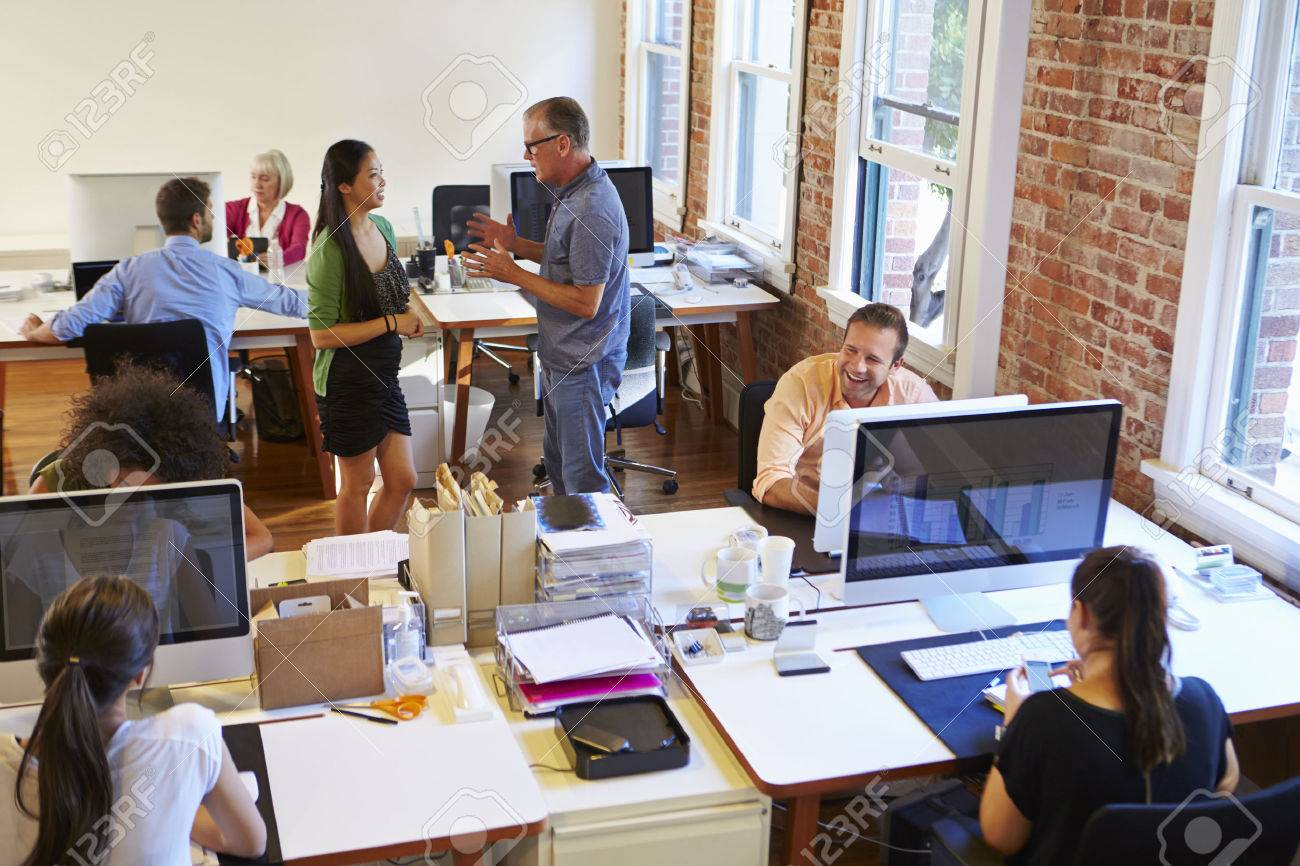 wide angle view busy design office. wide angle view of busy design office with workers at desks stock photo 42307892 i