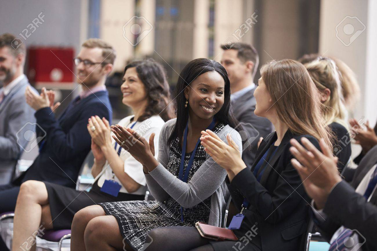 Audience Applauding Speaker After Conference Presentation Stock Photo - 71258953