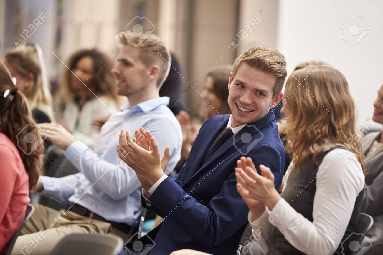 Audience Applauding Speaker After Conference Presentation Standard-Bild - 71258988