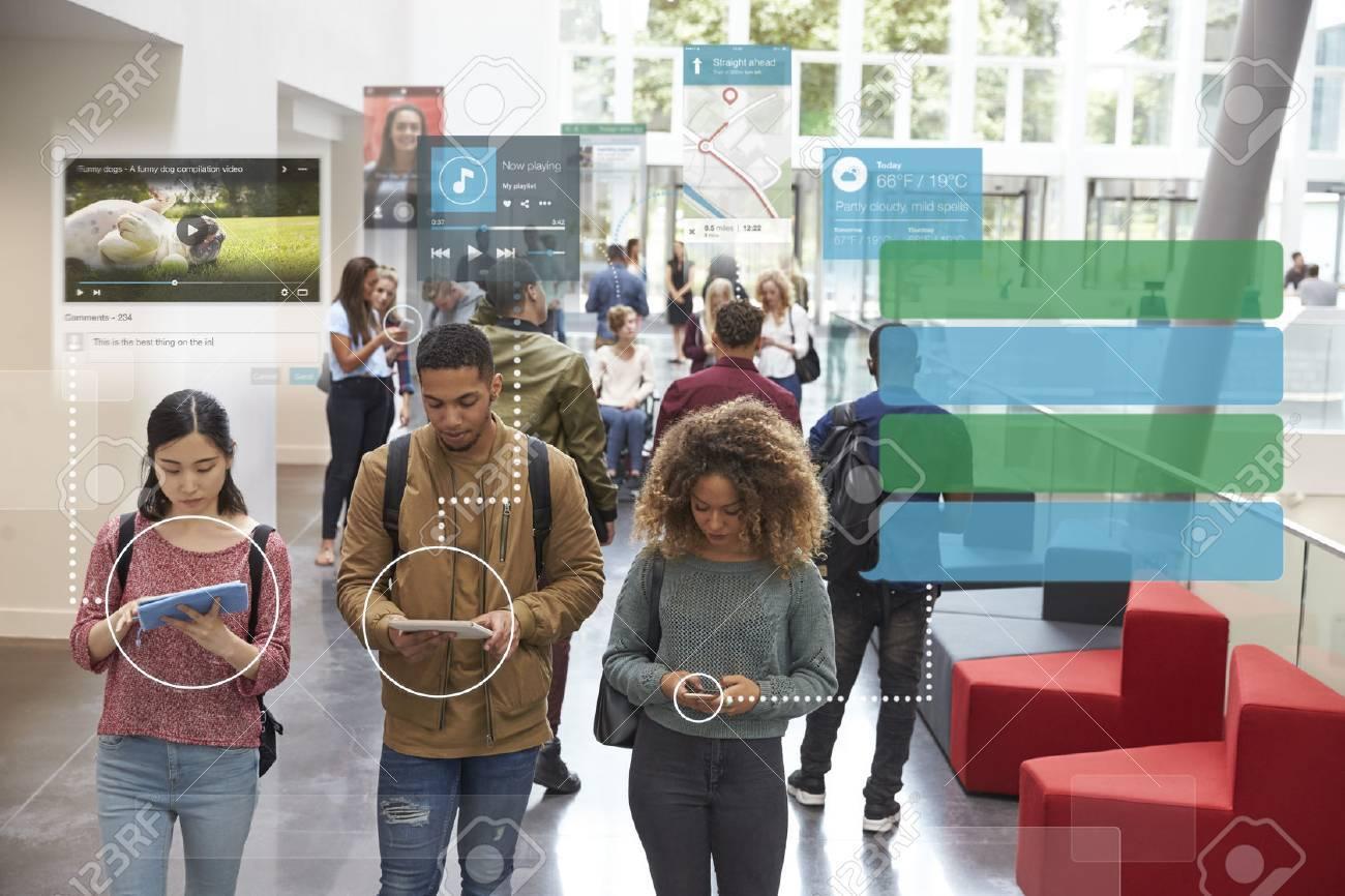 Millennials Using Social Media With Copy Space Standard-Bild - 71235538