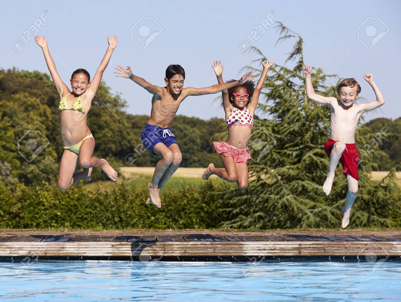 Image result for kids jumping into a pool