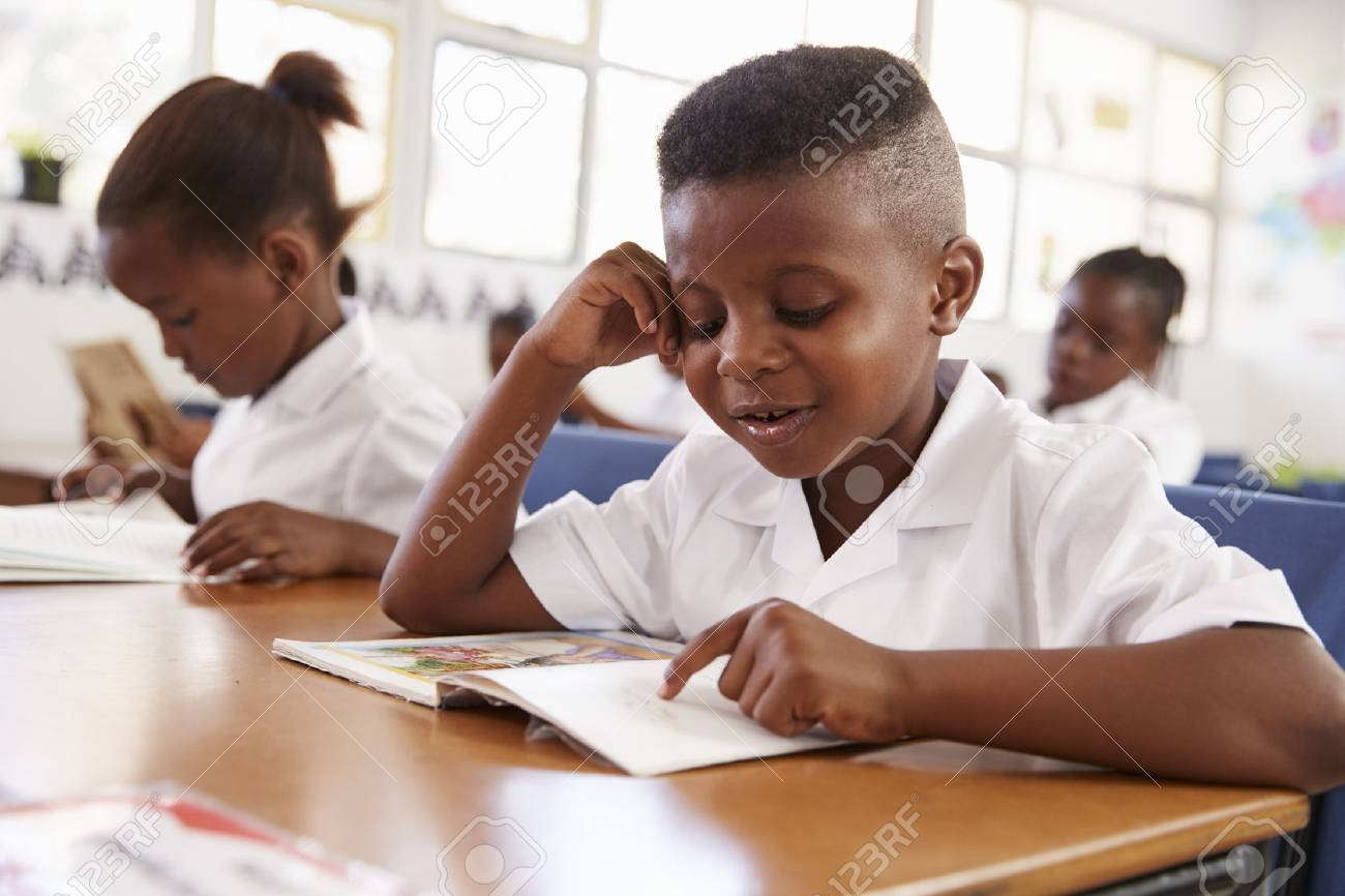 Elementary school boy reading a book at his desk in class - 85280305