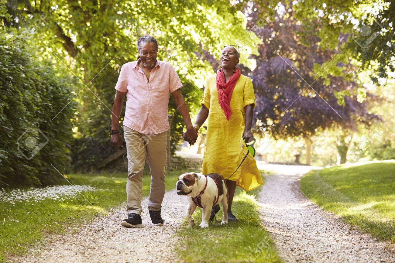 Senior Couple Walking With Pet Bulldog In Countryside - 90380054
