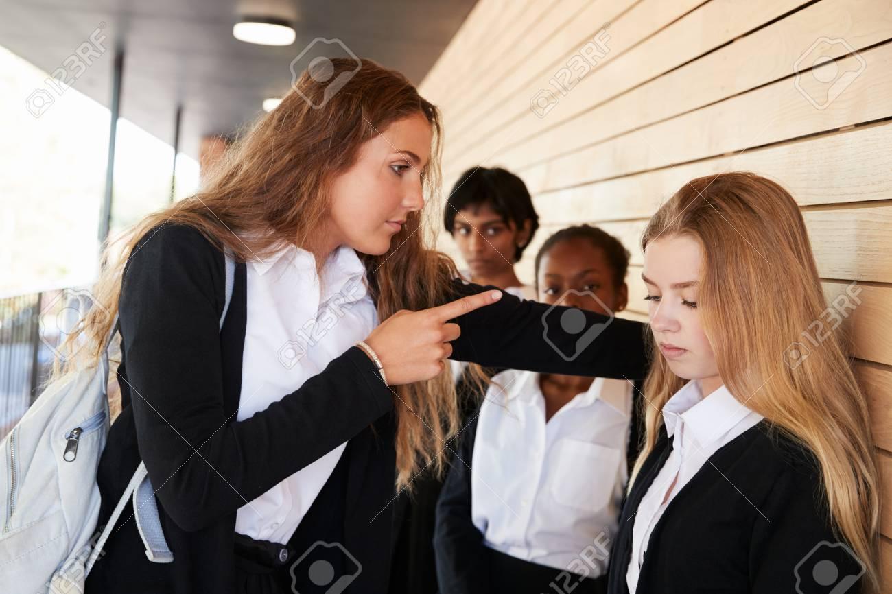 Teenage Girl Being Bullied At School - 91940583