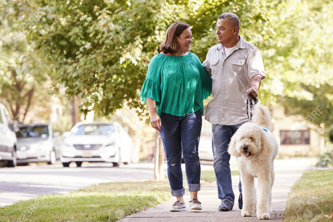 Senior Couple Walking Dog Along Suburban Street - 94361204