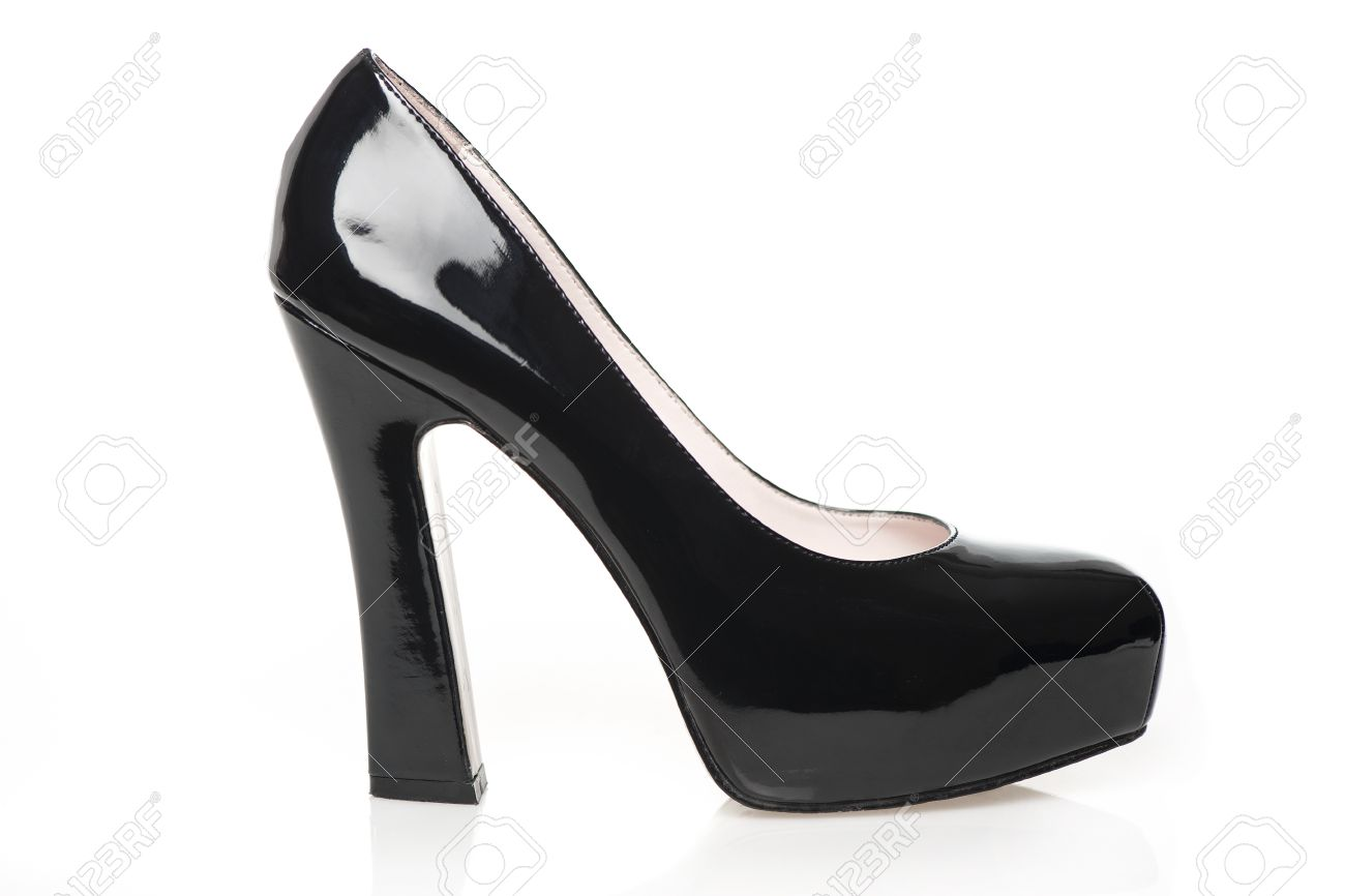 02d8eaa958 High Heels with inner platform sole, black patent leather Stock Photo -  16761473