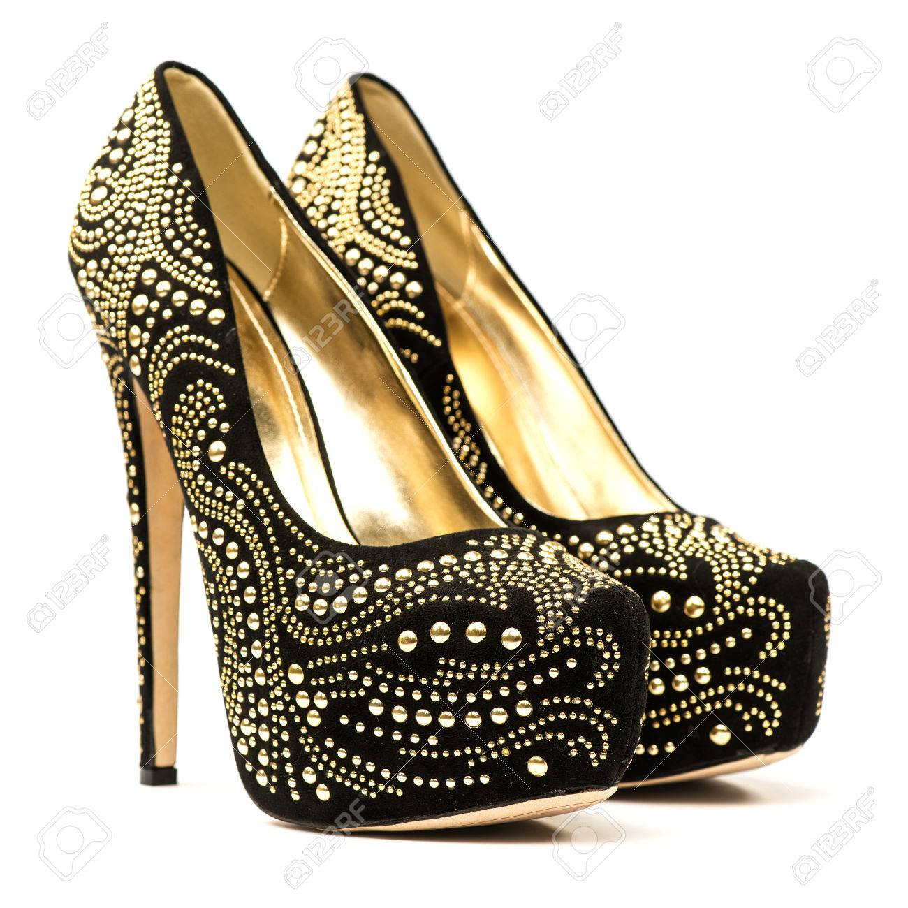High Heels Black And Gold