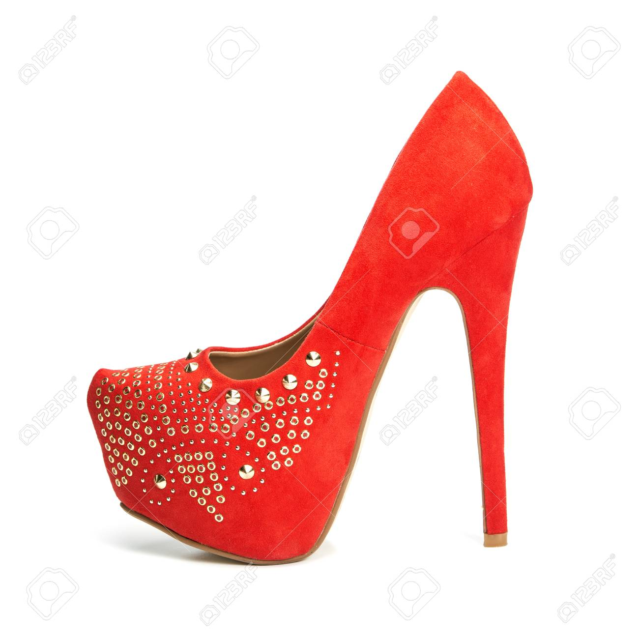 362a21b4288 Fashionable High heels shoes in red and gold with inner platform..