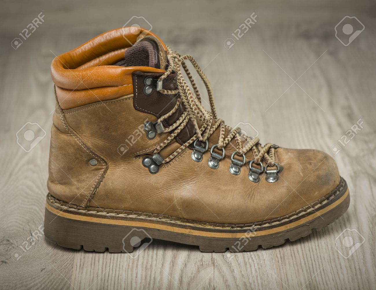0c54c76f61c Mens working or hiking boots made of brown leather, vintage look,..