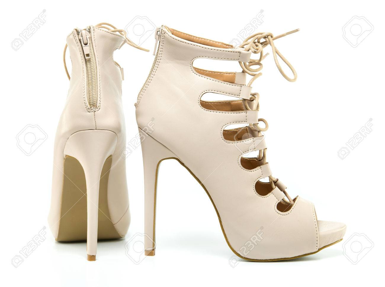 ce332eb34fc fashionable stiletto high heels ankle boots in nude colour with laces