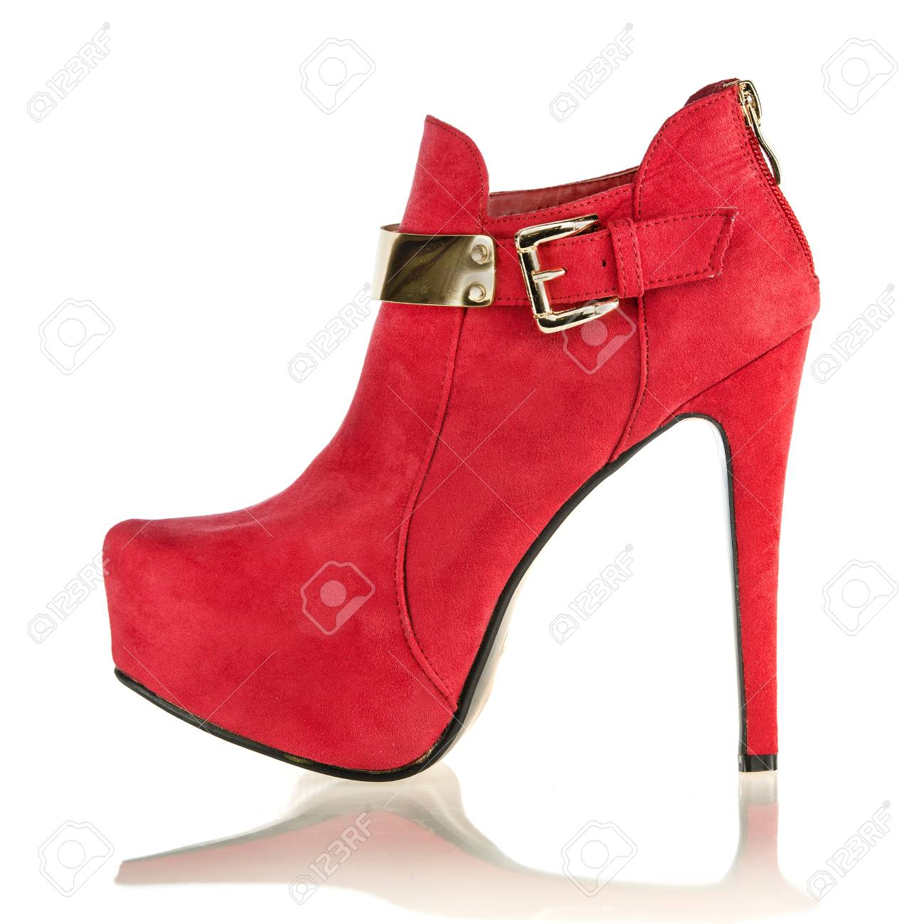 buy online d707a 24ff5 fashionable stiletto high heels ankle boots in red suede with..