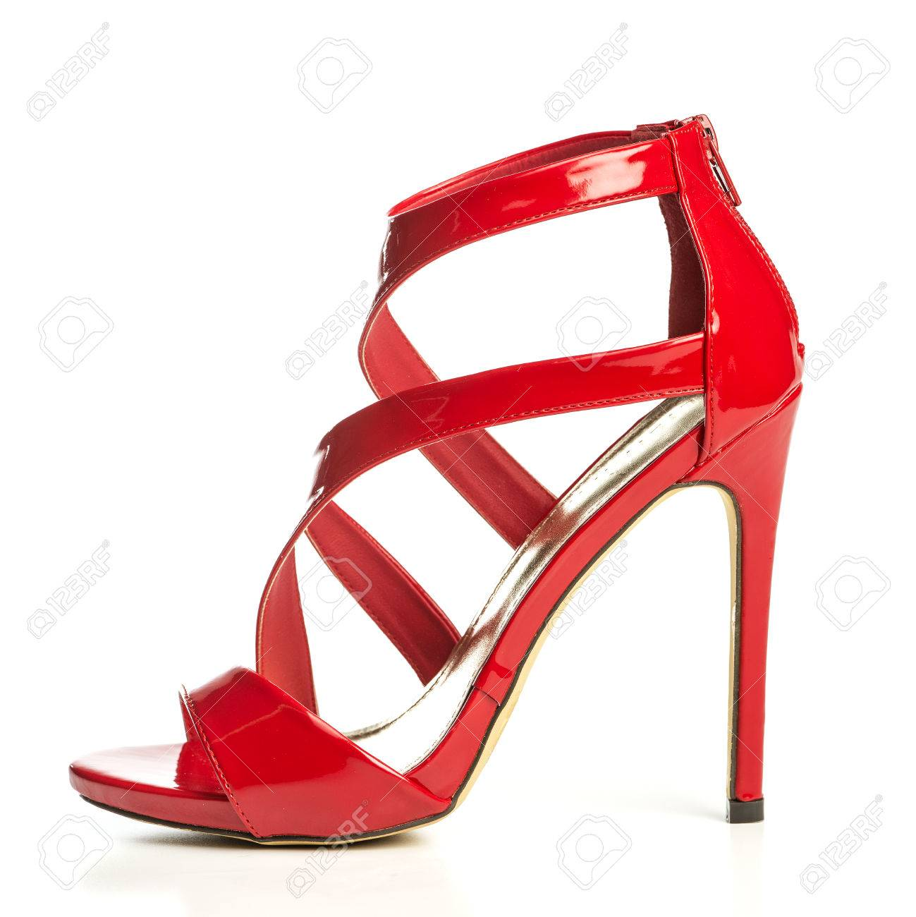 64d614713bb high heels sandals in shiny red patent leather with small platform sole and  ankle strap Stock