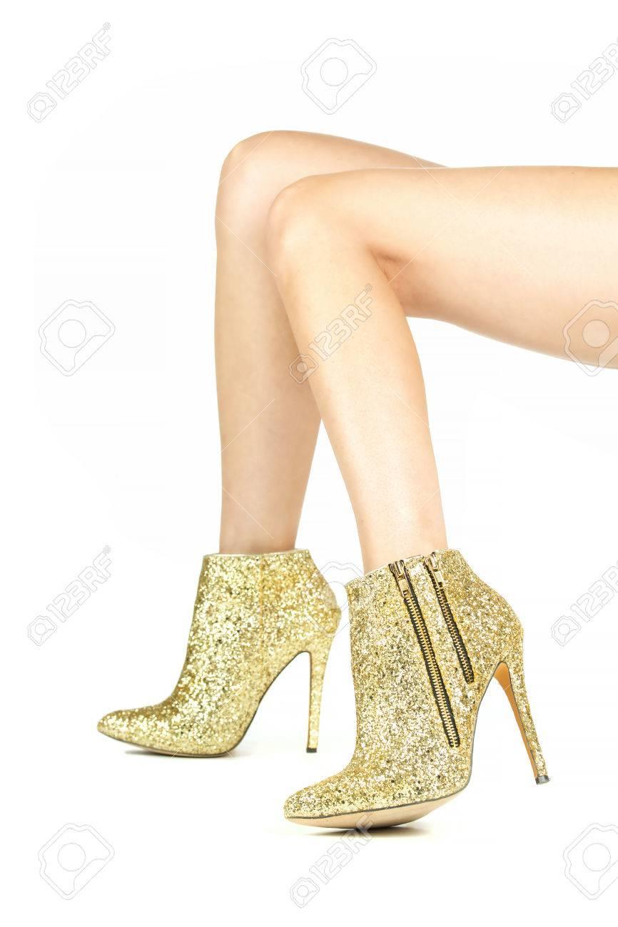 Oro Largas Con Tacones Y Lentejuelas De Altos Diamantes Brillante Botines Piernas Imitación Femeninas En vmNw8On0