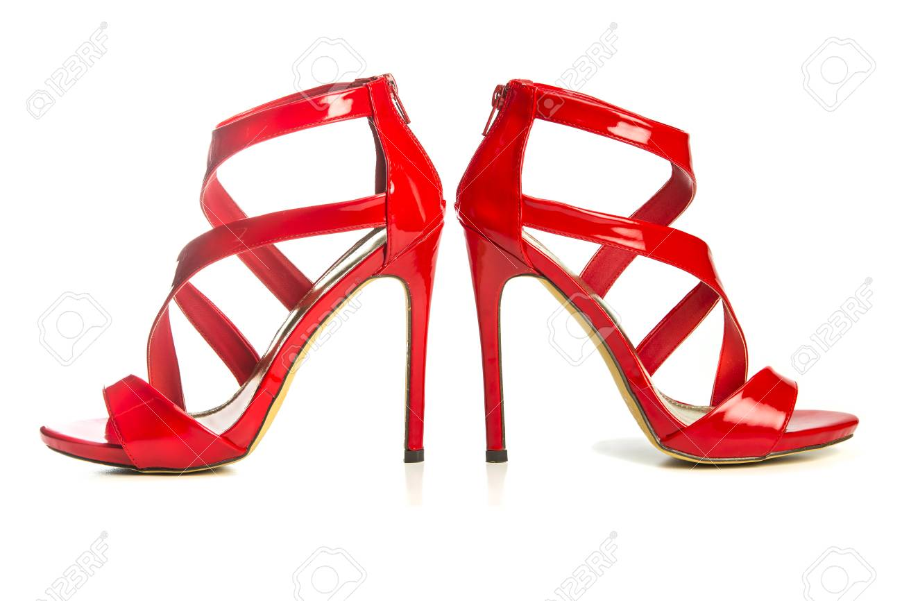 25c499db186 High heels strappy sandals in shiny red patent leather with small platform  sole and ankle strap