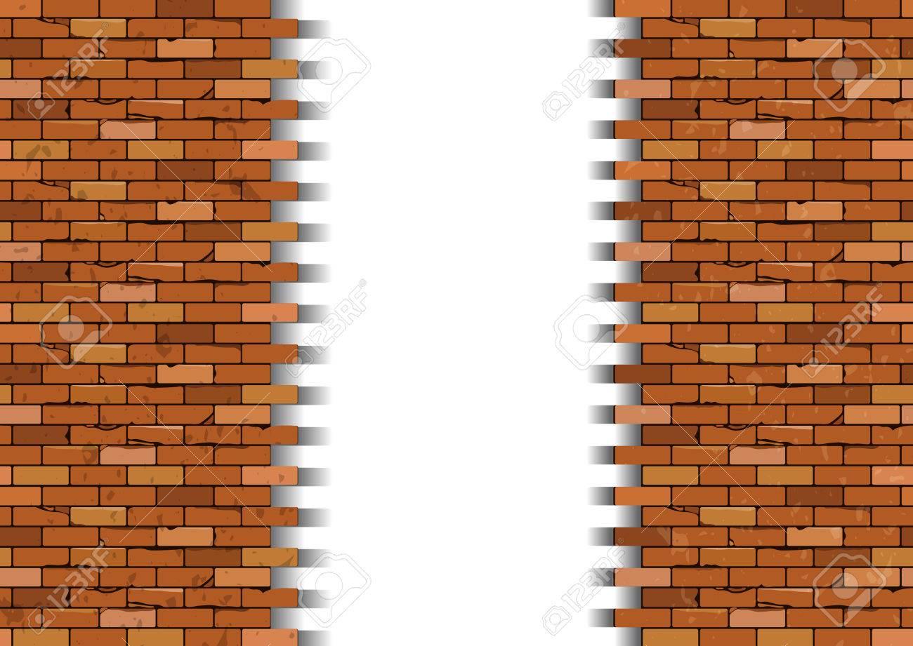 Broken Brick Wall Vector Illustration Stock