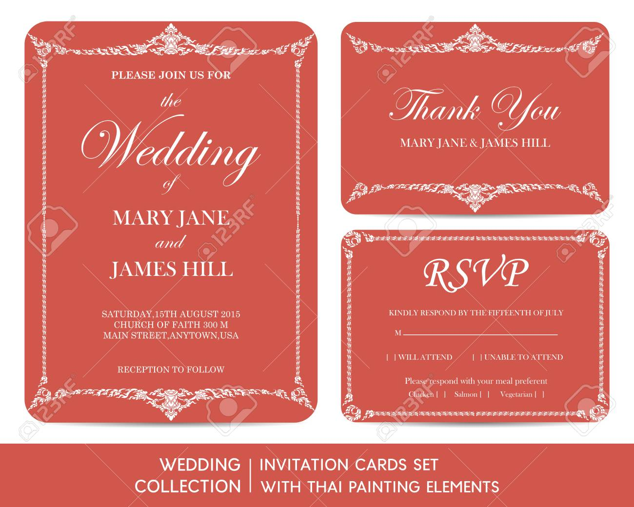 Wedding Invitation Cards Set With Thai Painting Elements Royalty ...