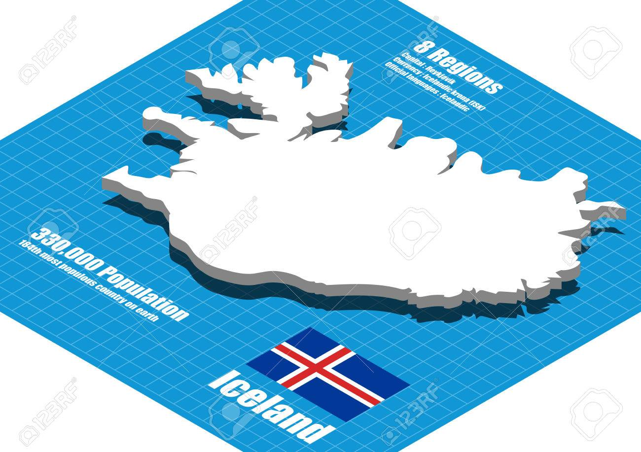 Iceland Map Vector Three Dimensional Royalty Free Cliparts, Vectors ...