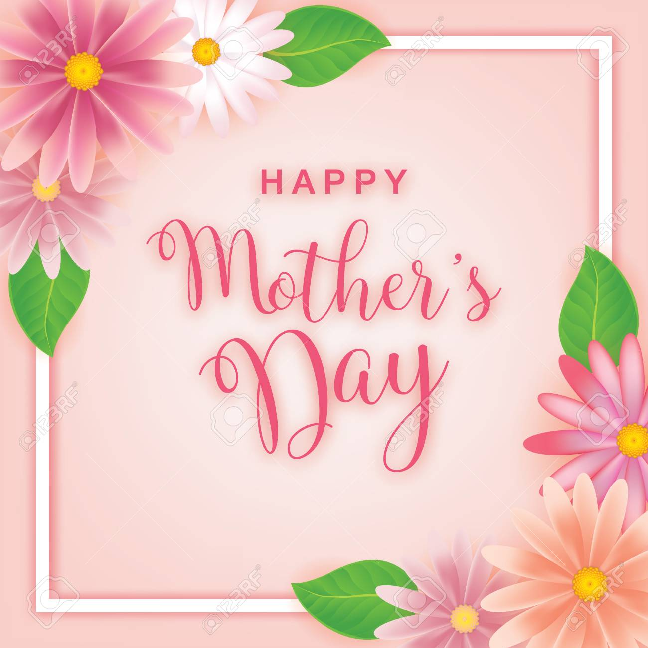 Mothers Day Greeting Card With Flowers Background Stock Vector