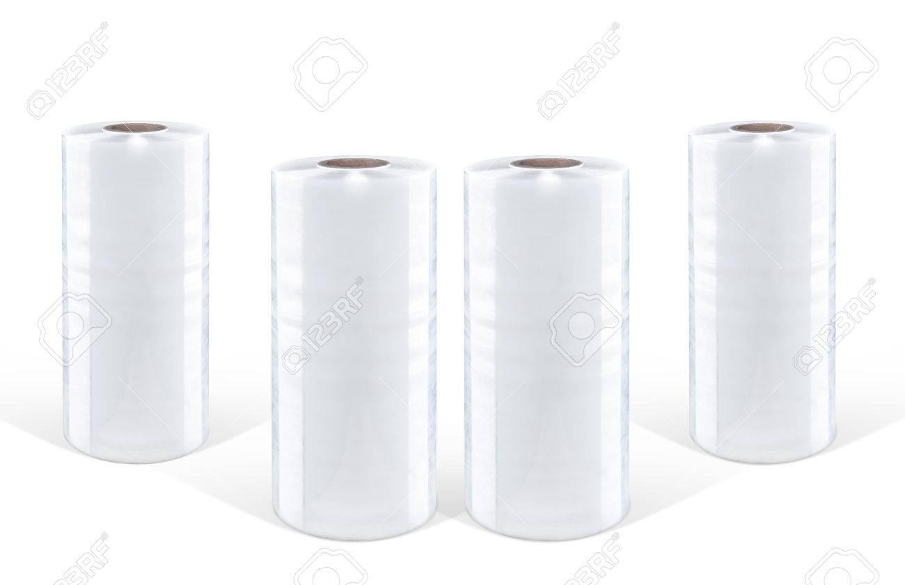 Weiße Stretchfolie auf weißem Hintergrund, isoliert Standard-Bild - 71291926