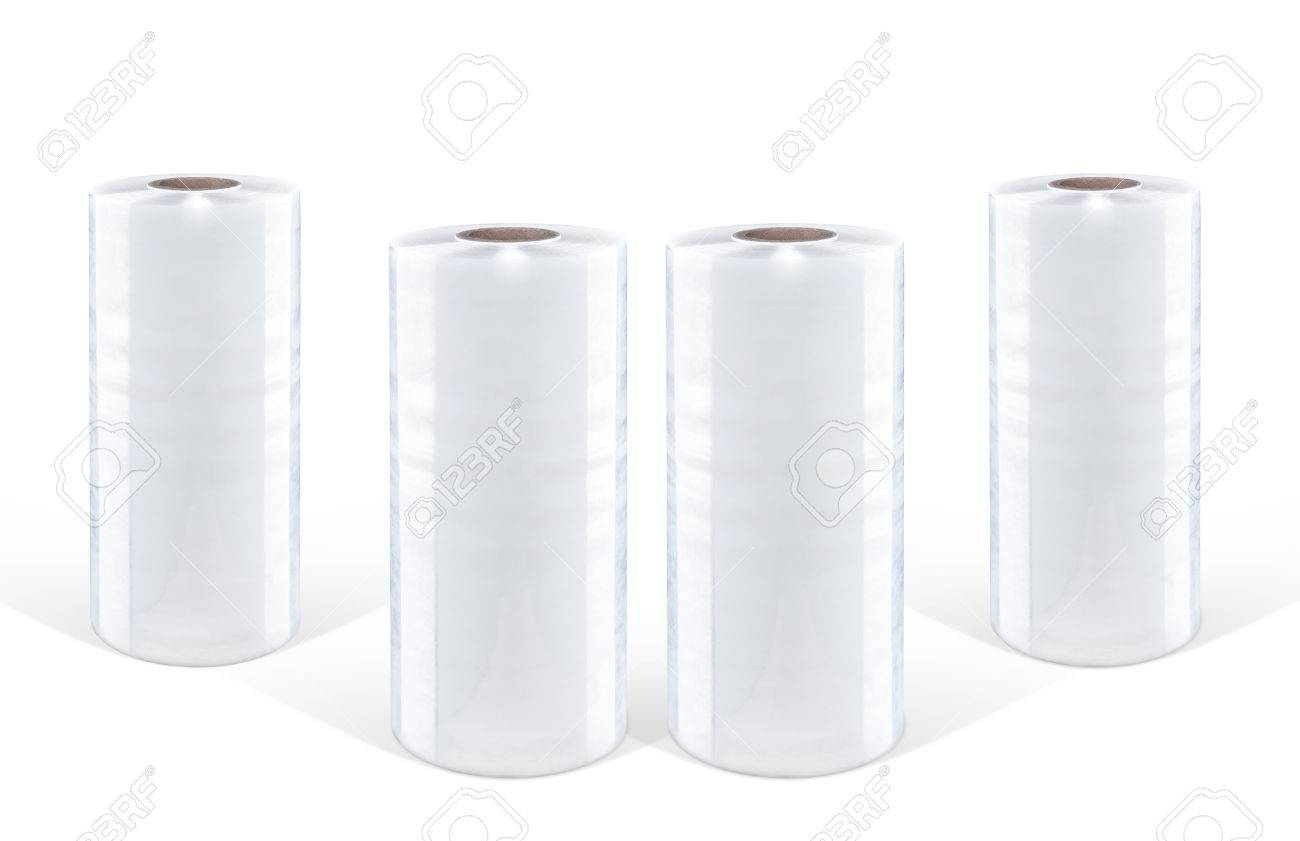 White stretch film at white background, isolated Standard-Bild - 71291926