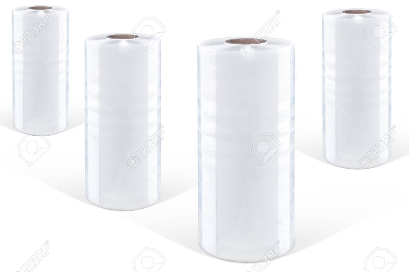 White stretch film at white background, isolated Standard-Bild - 71291927