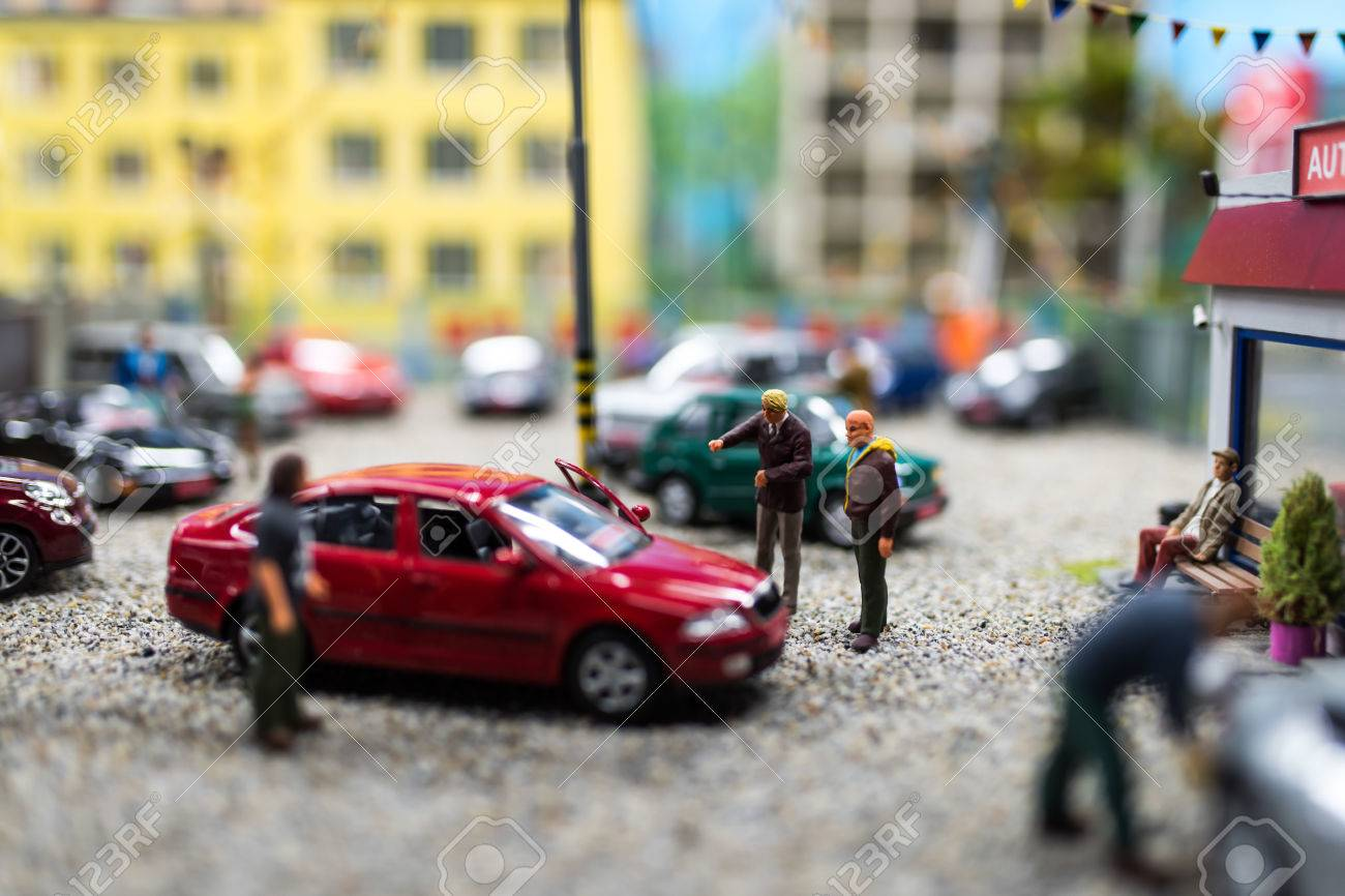 Close Up Of Miniature World, Used Car Dealer And A Trader Showing ...