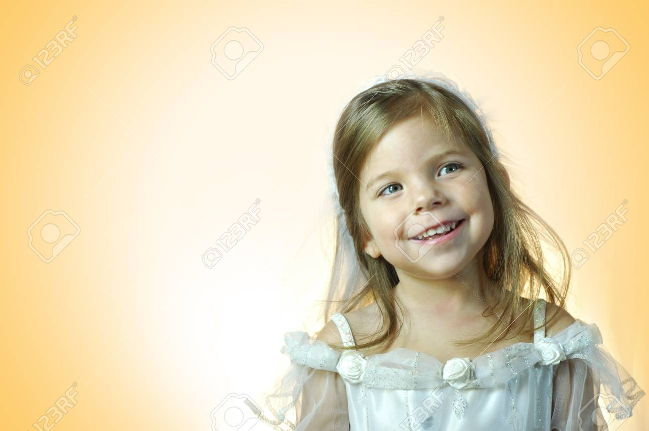 Little Girl In White Wedding Dress And Veil Stock Photo, Picture And ...