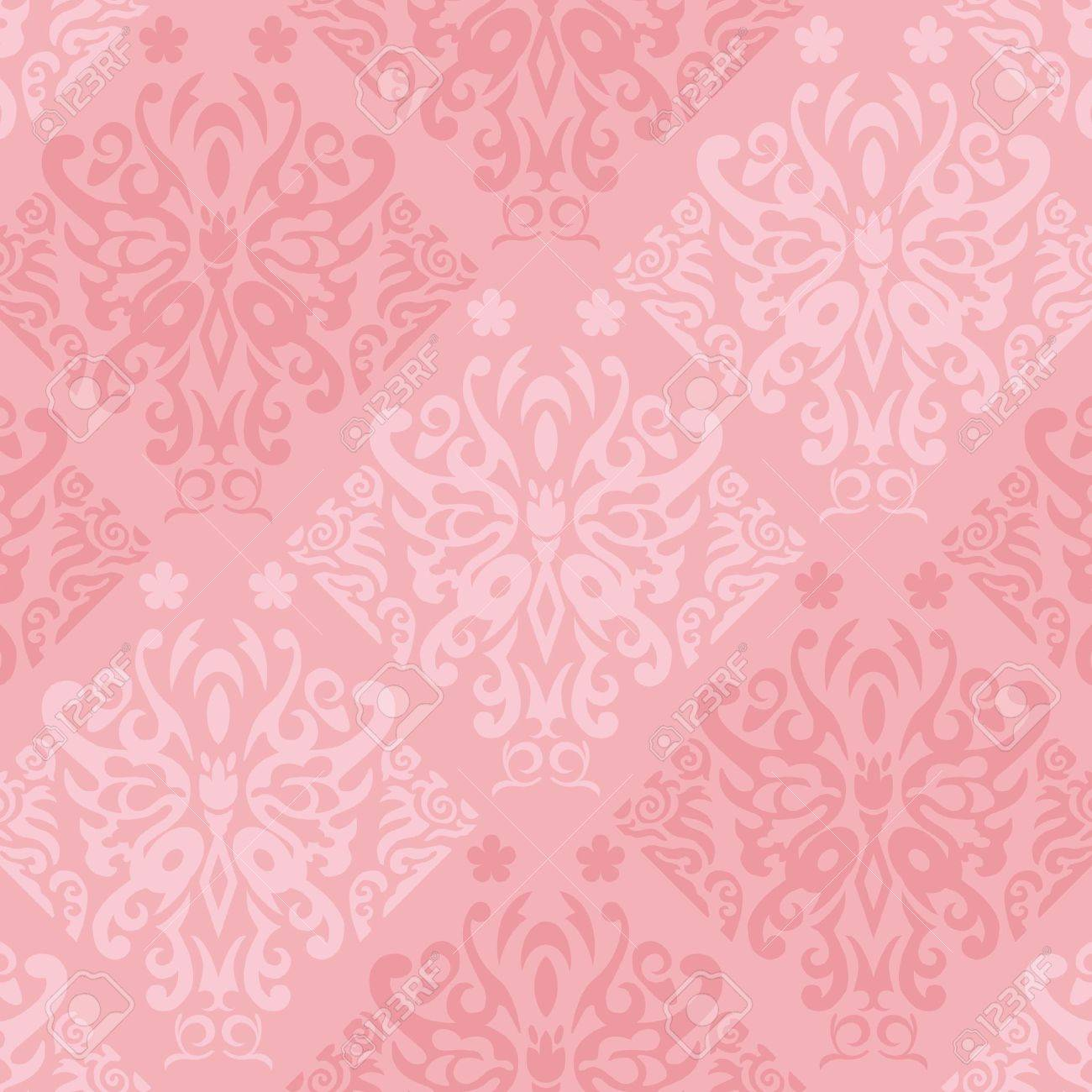Seamless Pink Butterfly Wallpaper Vector