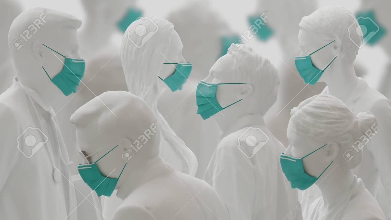 Virus or Coronavirus concept. People wearing face masks beacuse of flue outbreak. 3d rendering - 142946497