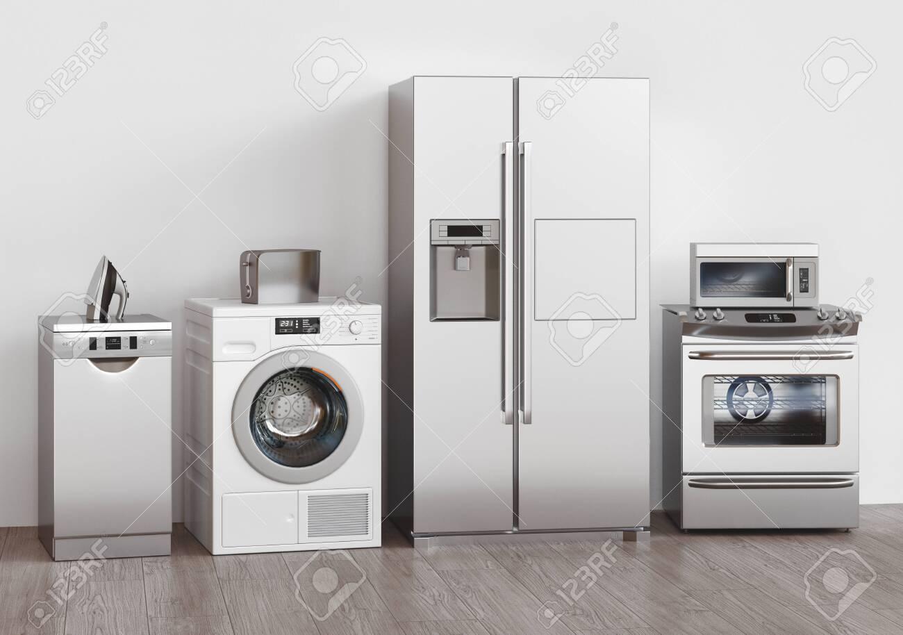 Kitchen household appliances, 3d rendering. Assistance concept - 153536959