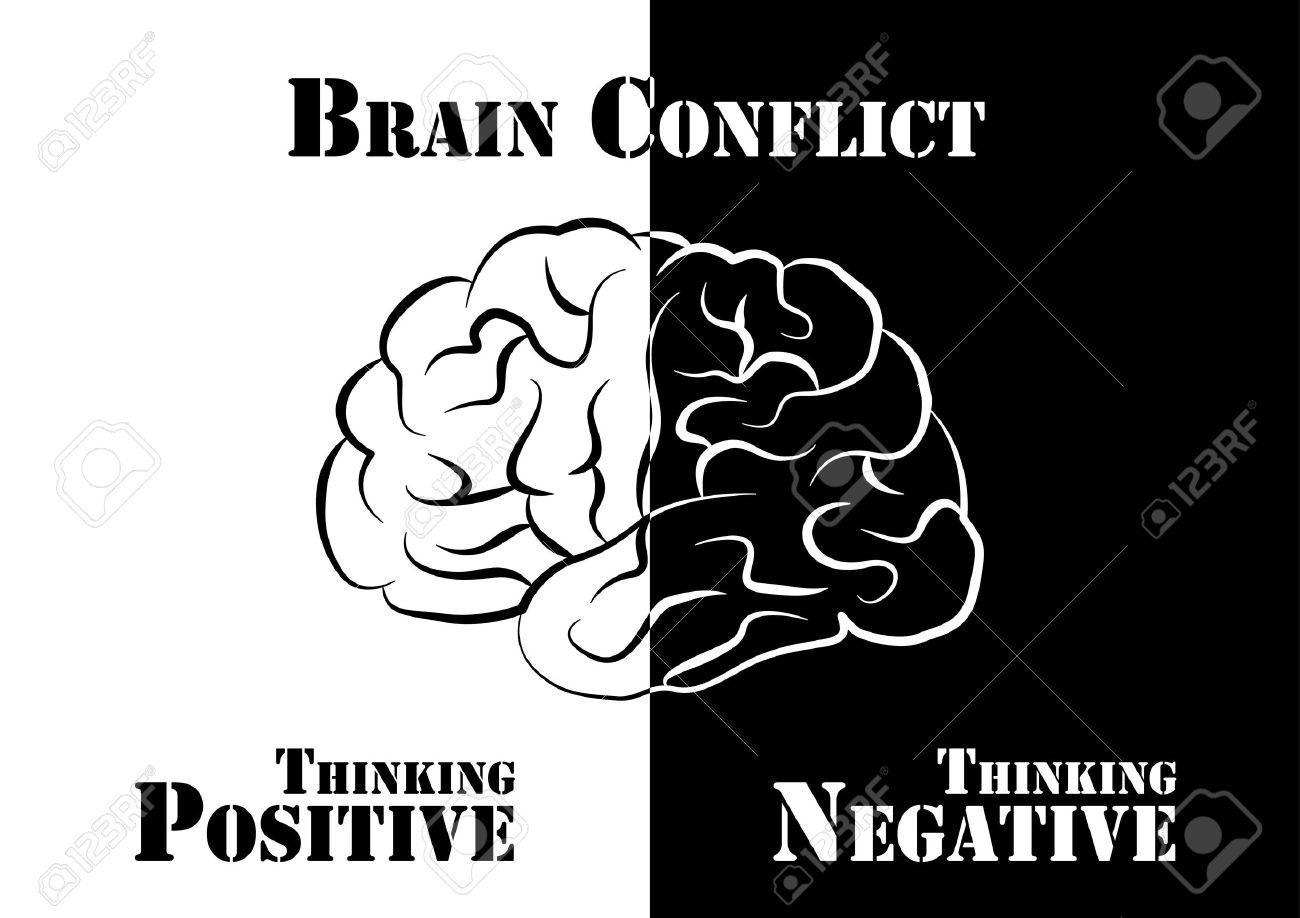Gehirn-Konflikt. Menschen Haben Positive Und Negative Denk ...