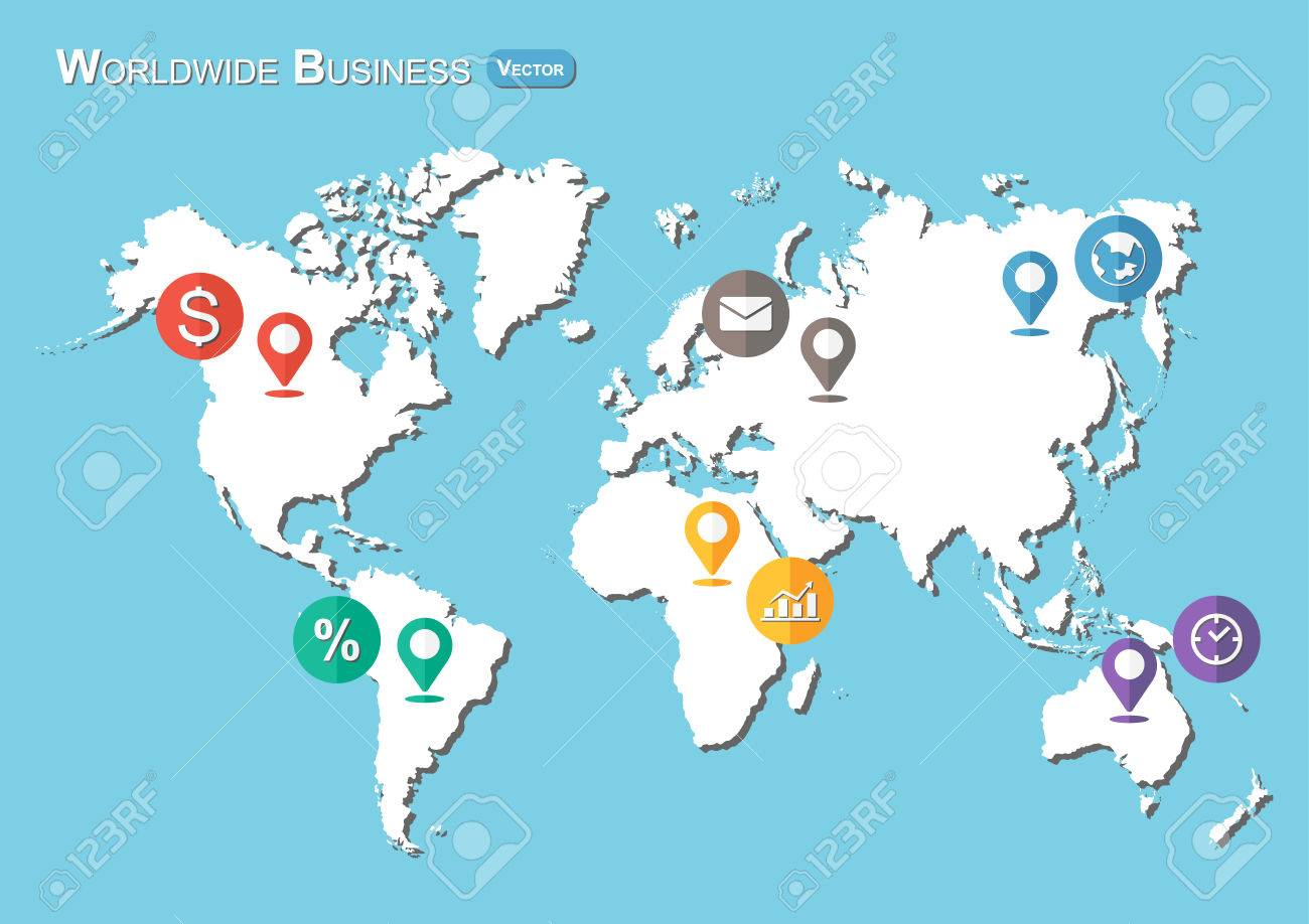 World Map With Pointers And Business Icon Flat Design Royalty - World map flat