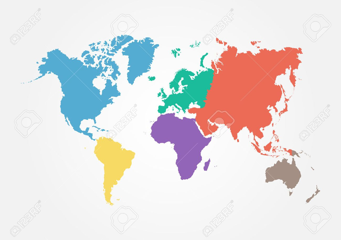 Vector world map with continent in different color flat design vector vector world map with continent in different color flat design gumiabroncs Gallery