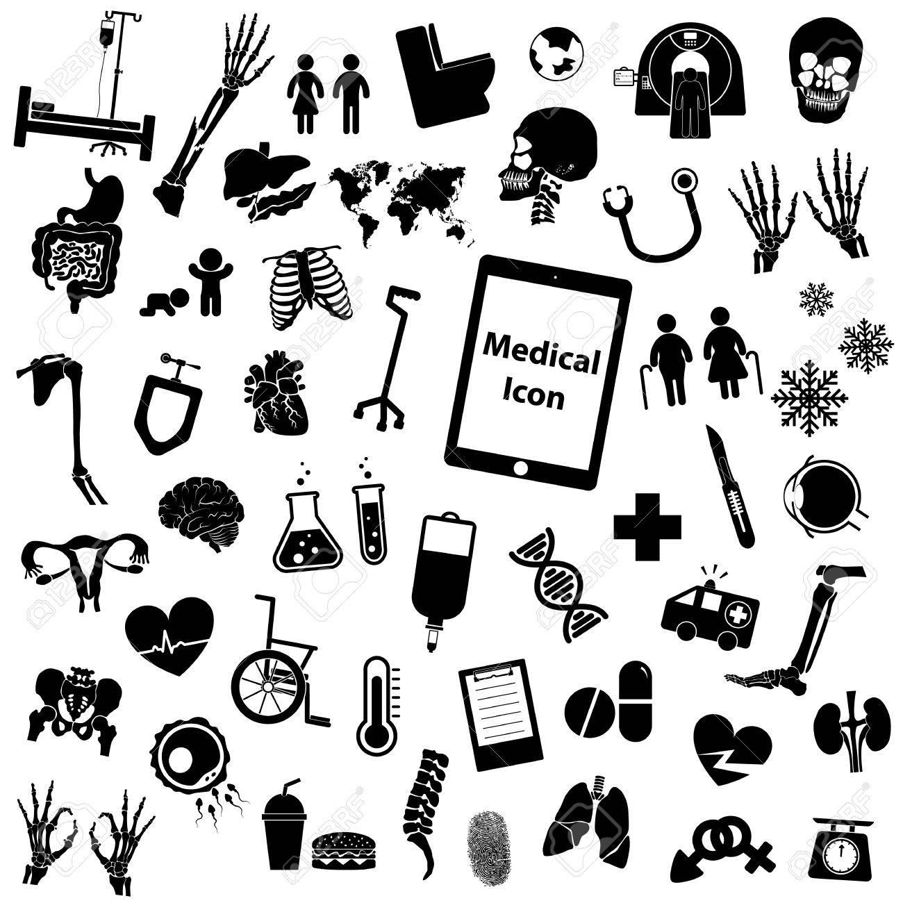 Set Medizinische Symbol (Bein, Hand, Reagenzglas, Brust, Drogen ...