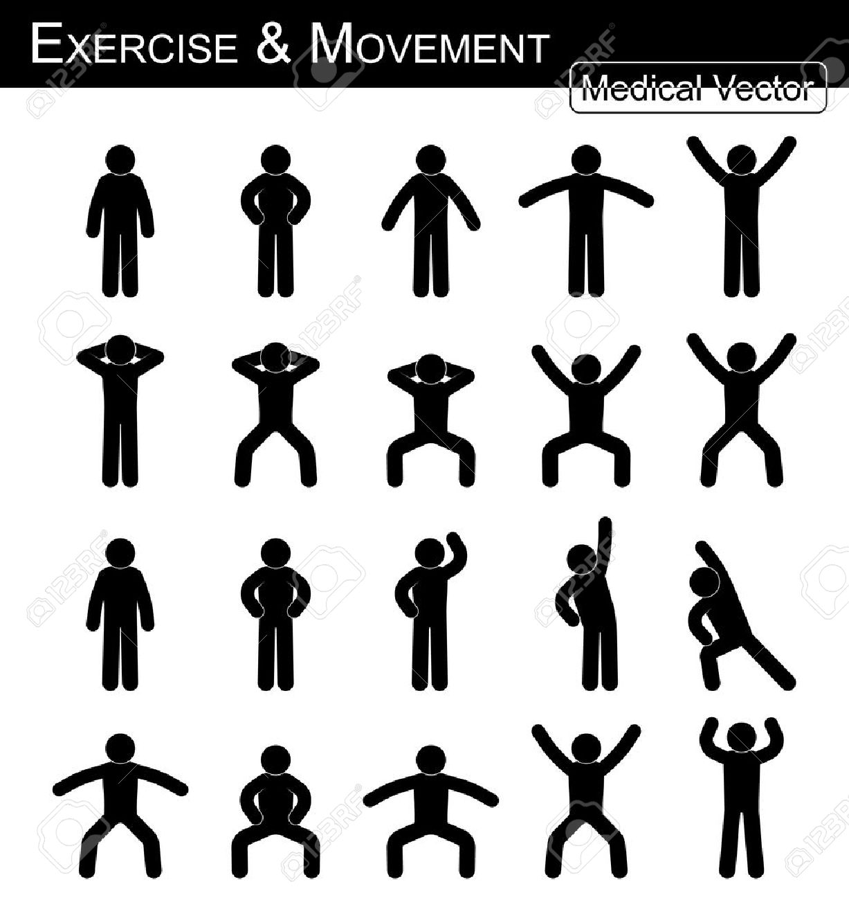 Exercise and Movement ( move step by step )( simple flat stick man vector ) ( Medical , Science and Healthcare concept ) - 47007820