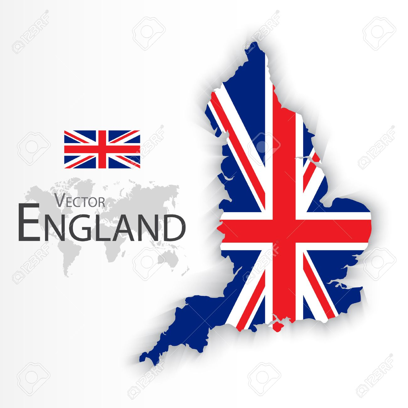 England flag and map ( United Kingdom of Great Britain ) ( combine flag and map ) ( Transportation and tourism concept ) - 52765693