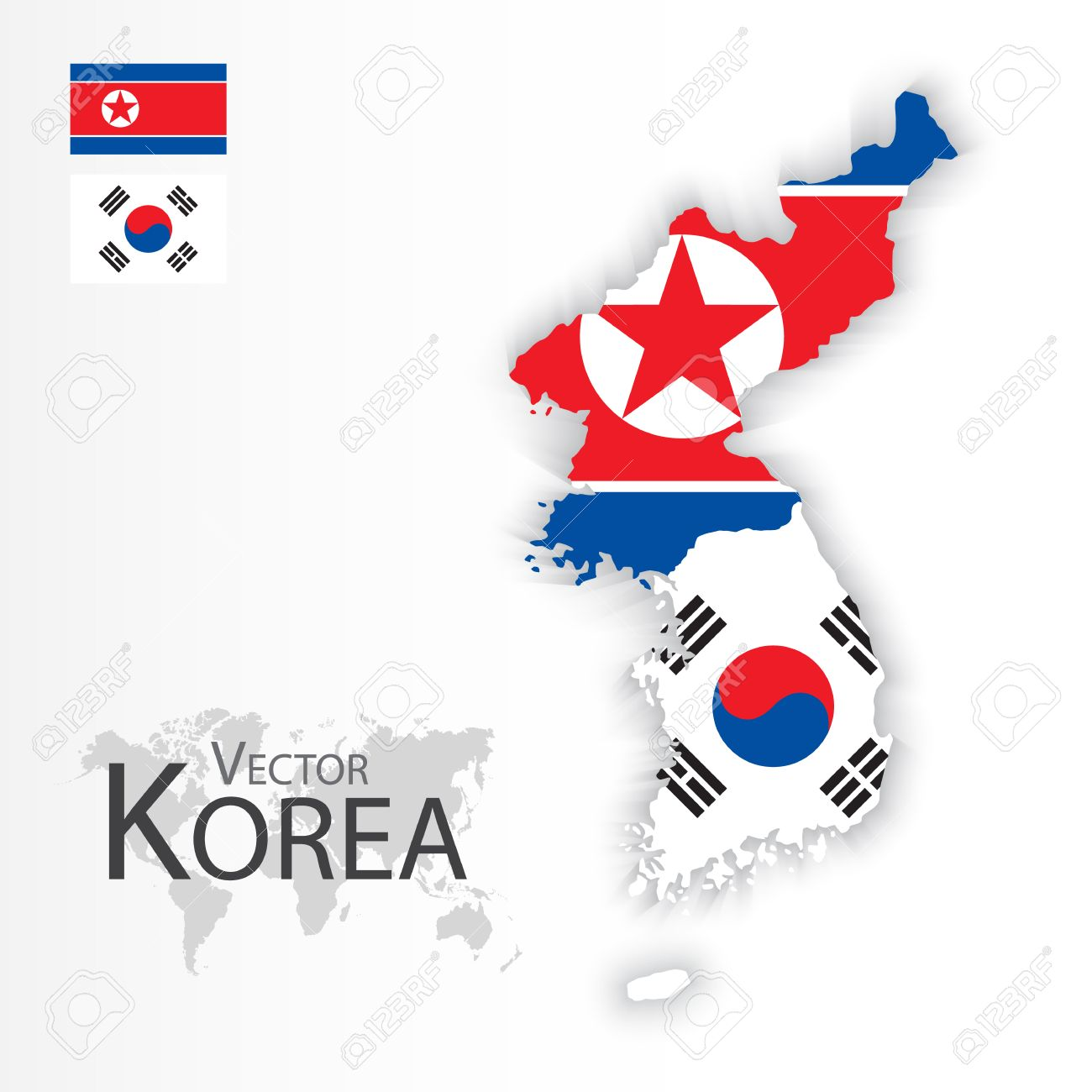 North Korea ( Democratic People 's Republic of Korea ) and South Korea ( Republic of South Korea ) ( flag and map ) ( transportation and tourism concept ) - 52765696