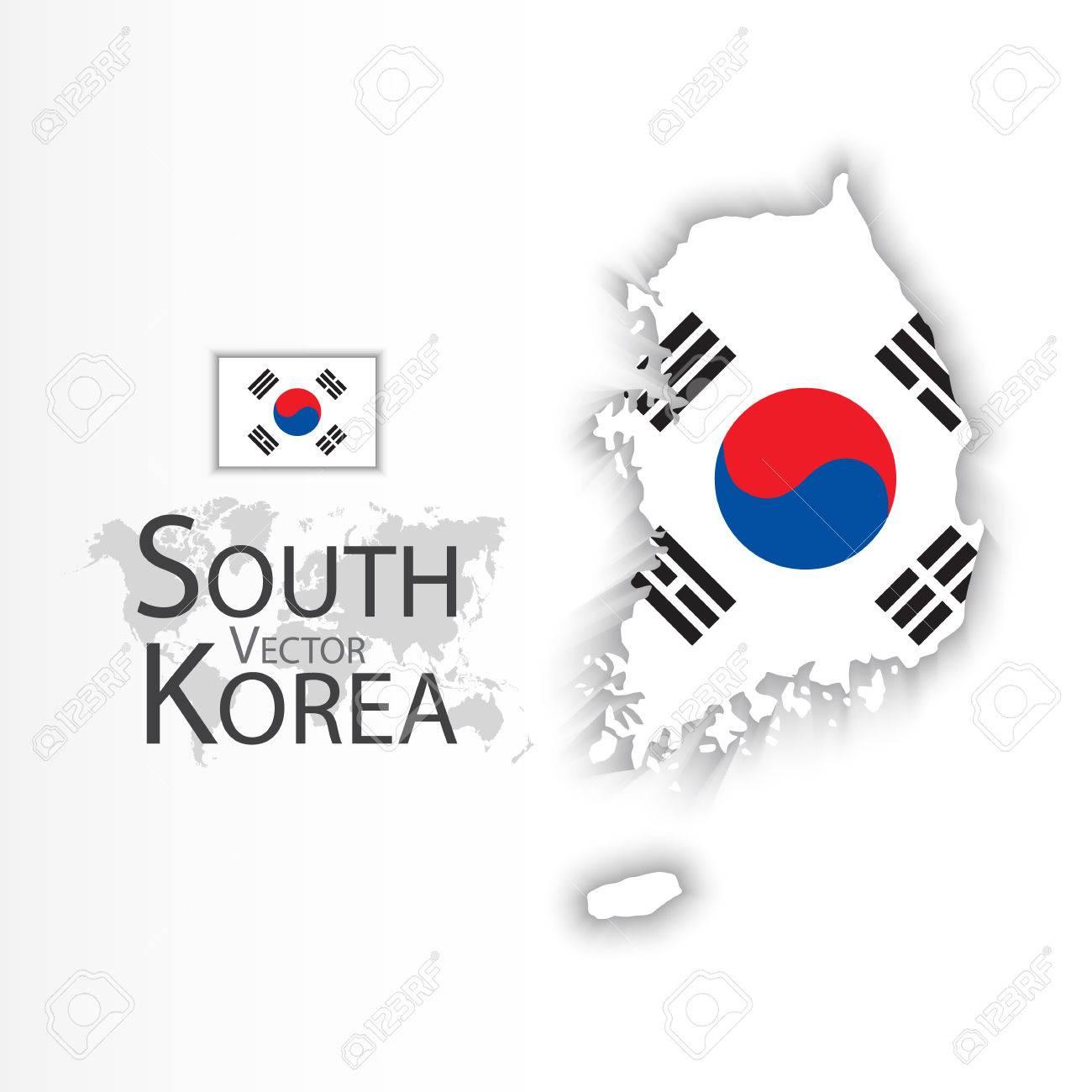 South Korea ( Republic of South Korea ) ( flag and map ) ( transportation and tourism concept ) - 52765702