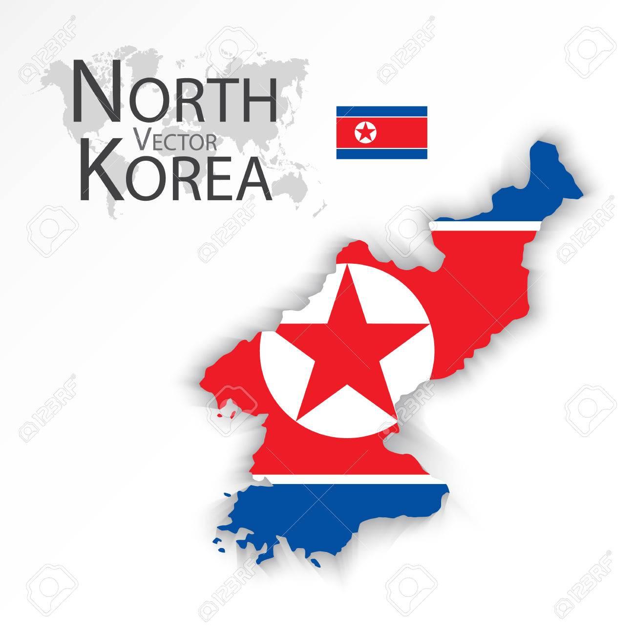 Corea Del Norte Republica Popular Democratica De Corea Bandera Y El Mapa Transporte Y Turismo Concepto