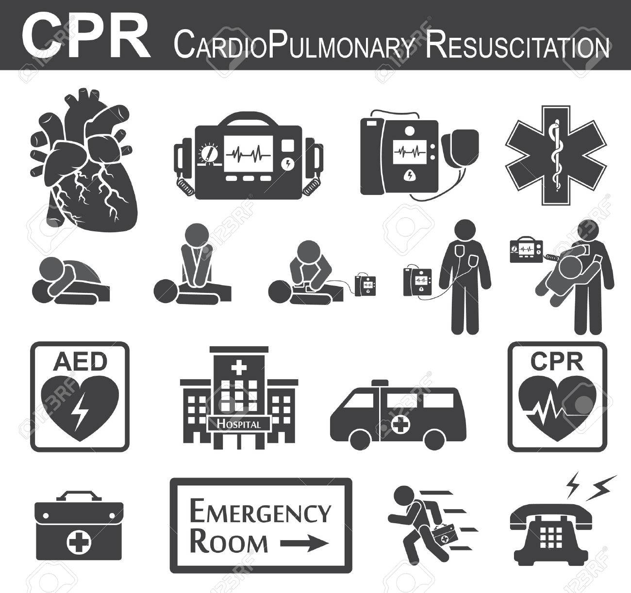 CPR ( Cardiopulmonary resuscitation ) icon ( black & white , flat design ) , Basic life support ( BLS )and Advanced cardiac life support ( ACLS )( mouth to mouth , chest compression , defibrillation ) - 55067908