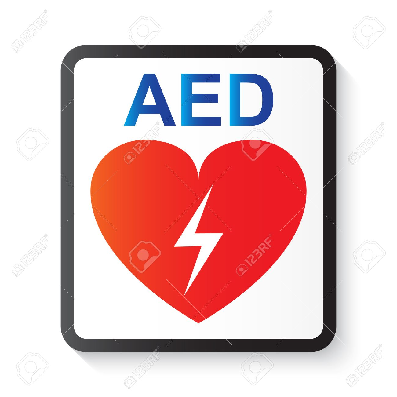 AED ( Automated External Defibrillator ) , heart and thunderbolt ( image for basic life support and advanced cardiac life support ) - 56750272
