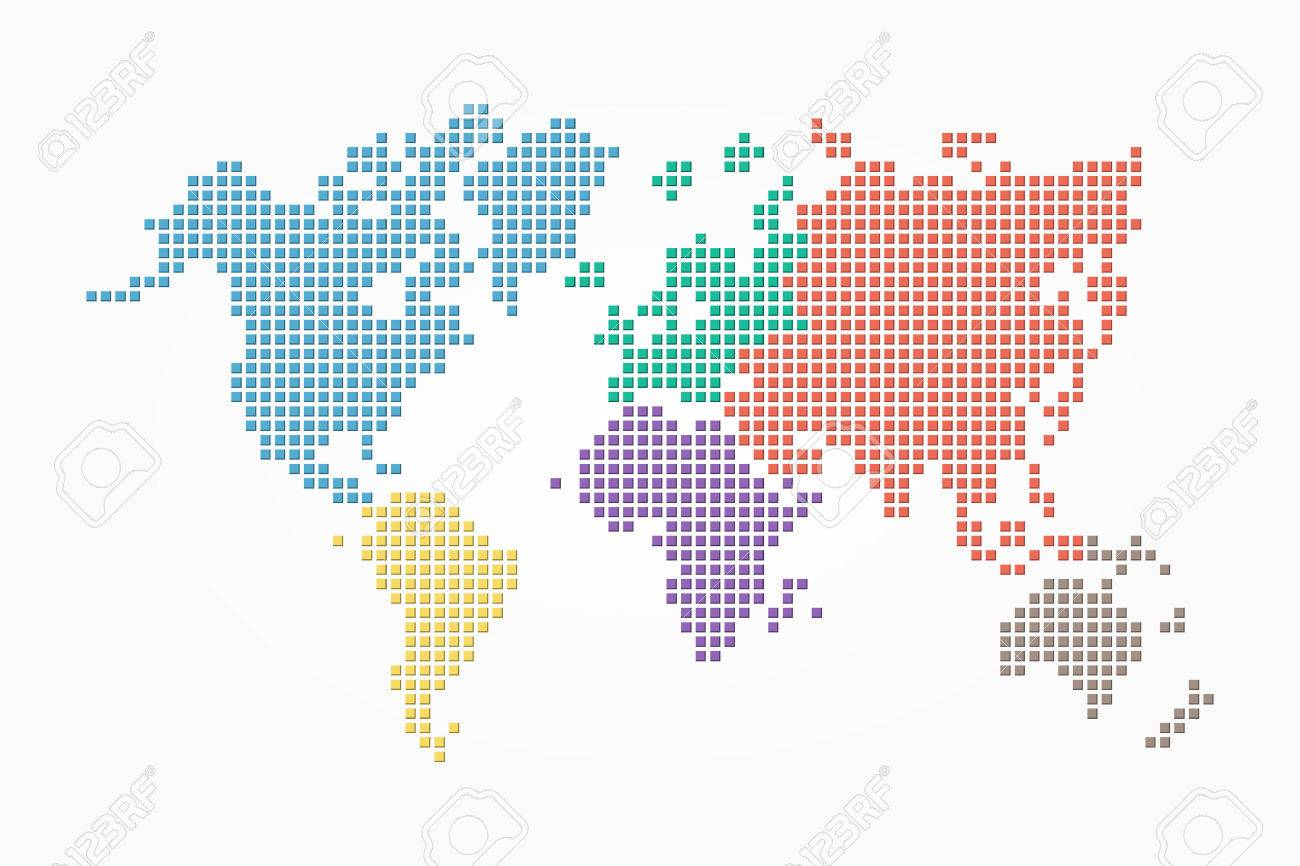 World map pixel style and flat color design different color vector world map pixel style and flat color design different color of continent gumiabroncs Choice Image