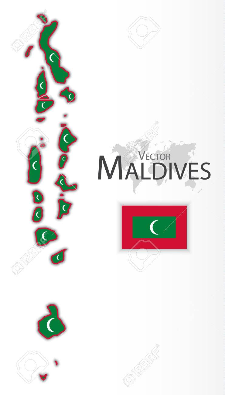 Maldives Republic Of Flag And Map Transportation Tourism Concept