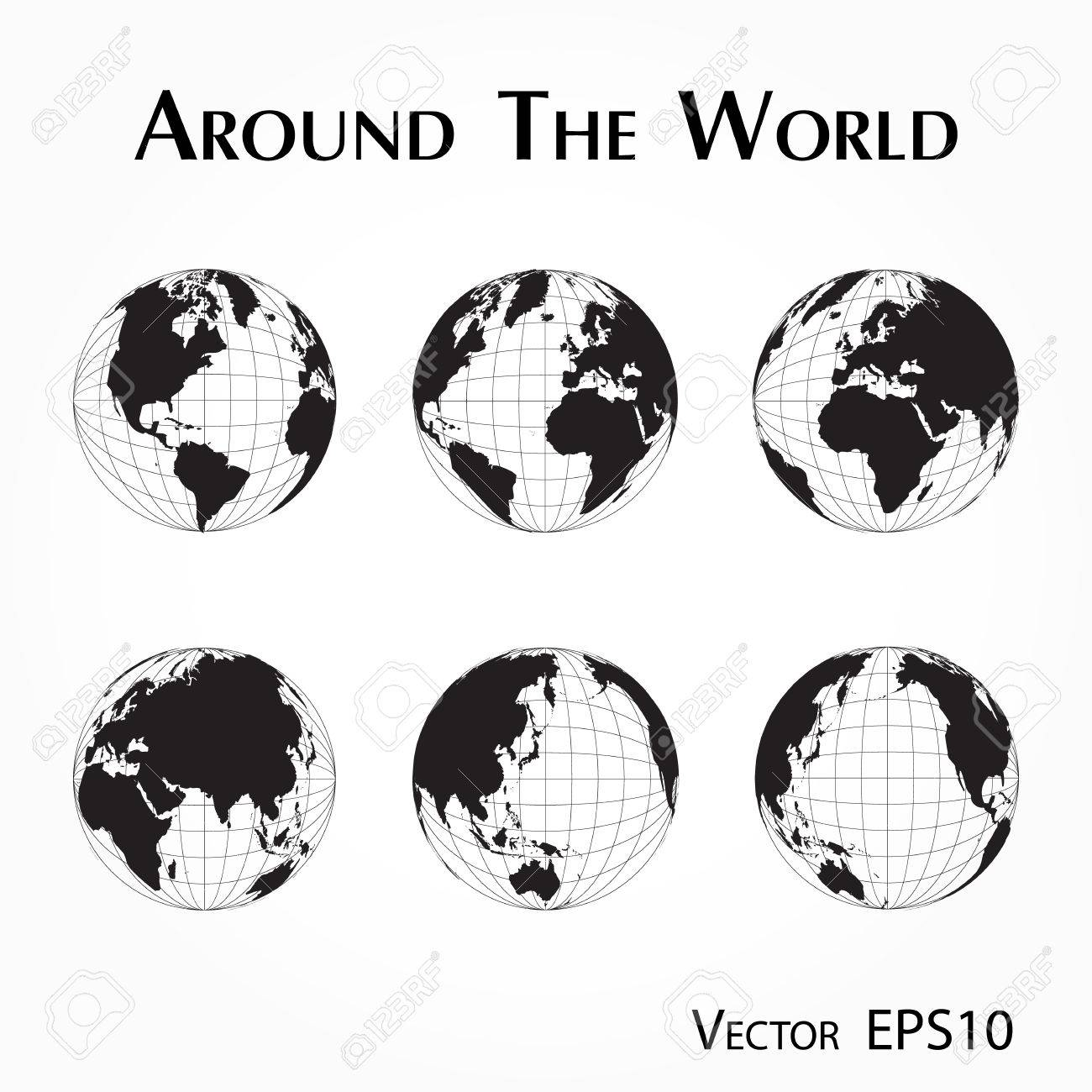 Around the world outline of world map with latitude and longitude around the world outline of world map with latitude and longitude stock vector gumiabroncs Image collections