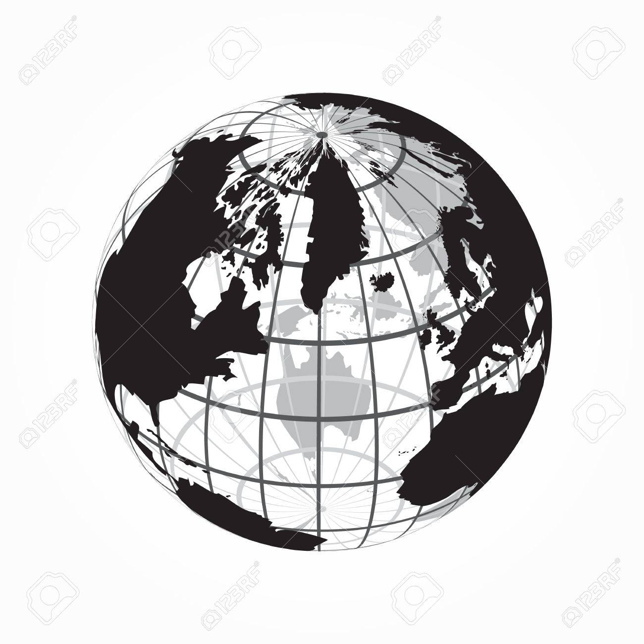around the world ( outline of world map with latitude and longitude..